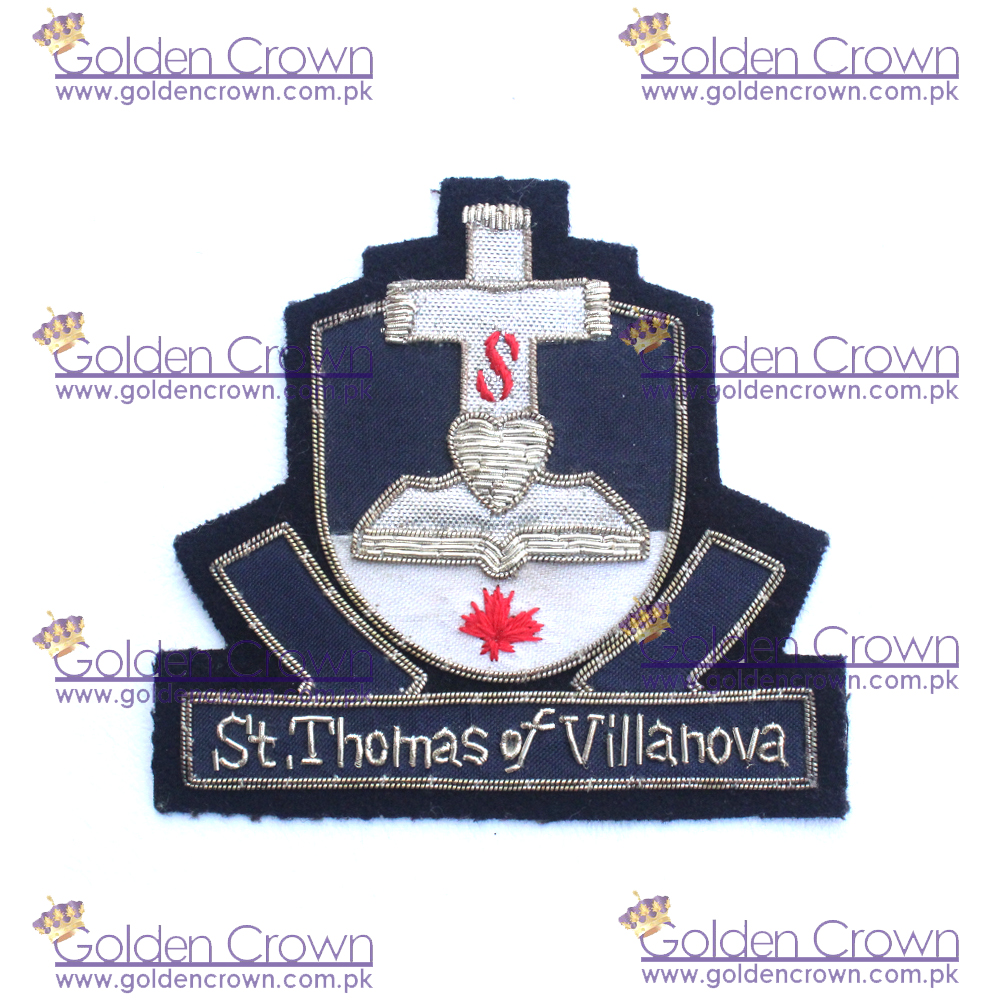 University Bullion wire Badges,Gold and Silver Bullion Wire