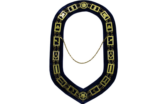 Masonic Regalia Blue Lodge Chain Collar Golden Metal