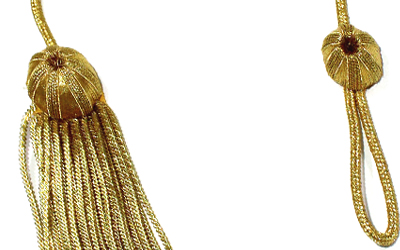 Academic Doctoral Graduation Cap Tam Gold Bullion Strand Tassel Twisted Metallic Thread