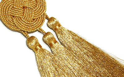 Celtic Knot Cincture Gold 3 small Tassels Cotton blend Felisi Gold