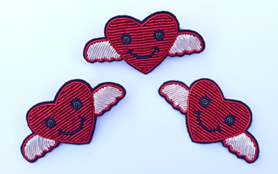 hand Embroidery Heart Bullion brooch