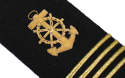 Four Bars Captain Epaulets Gold Anchor Navy  American Shoulder Board
