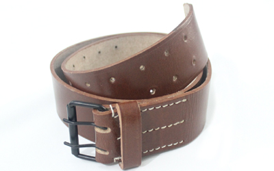 WWI French Brown Leather Field Equipment Belt