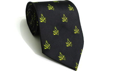 Masonic Regalia Craft Masons Silk Tie Embroidered Square Compass & G