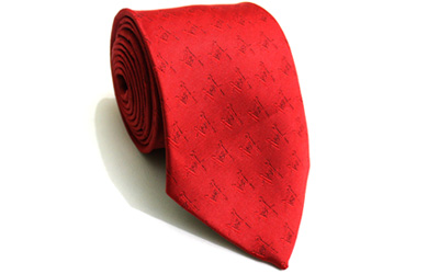 New Design Masonic Red Silk Tie with Sq & G
