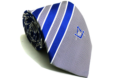 New Design Masonic Masons Striped tie with Square Compass & G