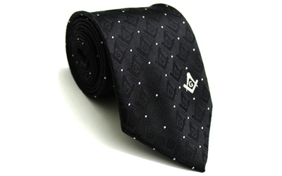 Masonic Tie with Square Compass & G Black