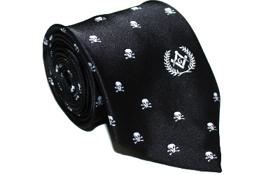 Masonic Regalia Freemason Tie with Skull bone
