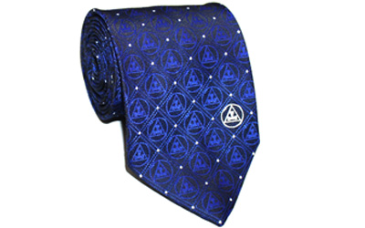 Masonic Royal arch Triple tau 100 % Silk Tie in Royal Blue Color