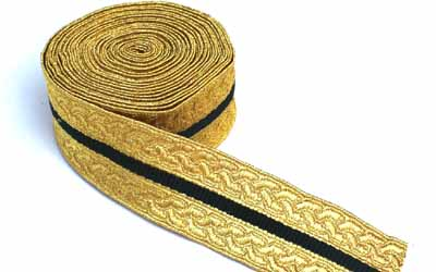 Gold Green Mylar Braid Lace