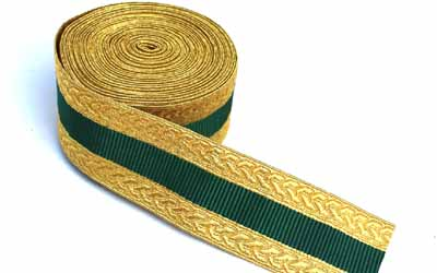 Military Metallic Mylar Gold & Green Lace Supplier