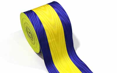 Masonic Moire Ribbons Blue And Yellow