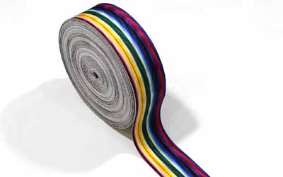 Rainbow Moire Striped Grosgrain Ribbon