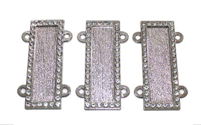 Masonic name bars with Rhinestone border Silver Plated