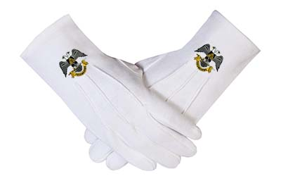 32 DEGREE WINGS Down & SCOTTISH RITE MASONIC EMBROIDERED GLOVES