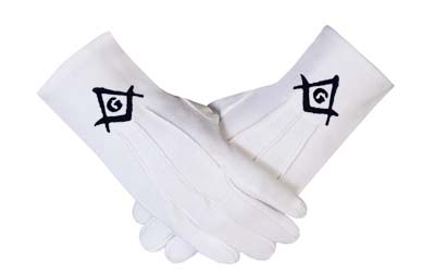 Masonic regalia Cotton Gloves Black Square Compass & G