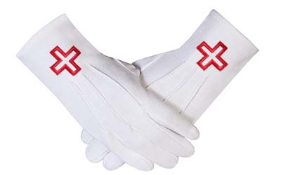 Knights Templar Cross White Masonic Cotton regalia Gloves