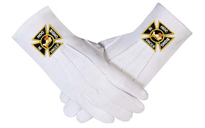Knights Templar White Masonic Cotton Gloves