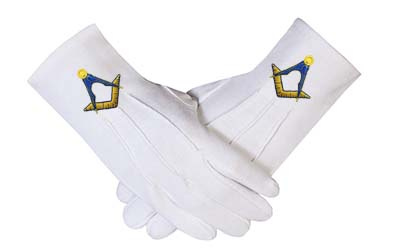 Masonic Cotton Glove with Yellow Machine Embroidery Square and Compass