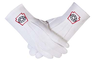 Masonic Freemasons Mark Degree White 100% Cotton lodge Gloves