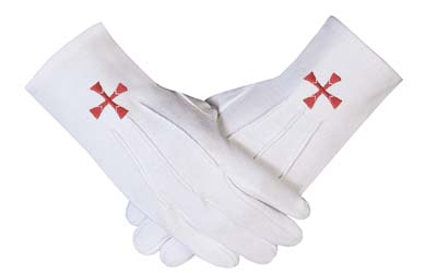 Masonic Regalia Order of the Red Cross Symbol Gloves Cotton - Knights Of Templar Masonic Regalia Clothing