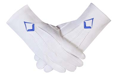 Masonic White Cotton Gloves With Blue Embroidered Square & Compass Emblem