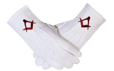 Masonic Cotton Gloves With Maroon Embroidered Square & Compass Emblem