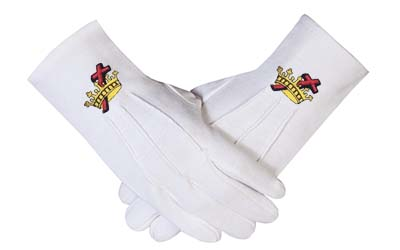 Masonic regalia Knight Templar KT 100% Cotton Machine Embroidery white Gloves