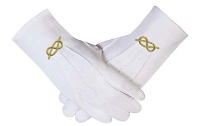 Masonic Gold knot Machine Embroidery White Cotton Gloves Wholesale