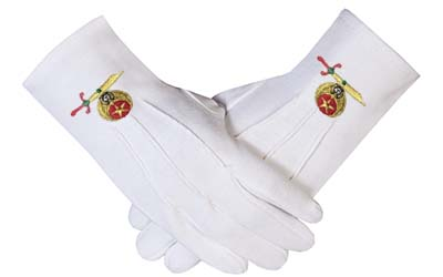 Masonic Shriner Emblem White Cotton Glove Masonic Gloves