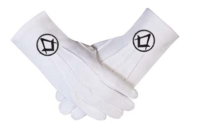 Freemasons masonic Cotton Gloves in Black S + C
