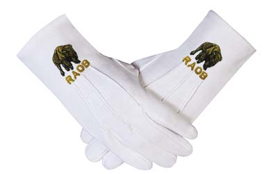 Masons Masonic RAOB - BUFFALO EMBROIDERED GLOVES