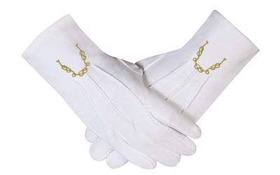 Masonic Mitten embroidered cotton gloves Gold Masonic chain