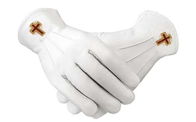 Soft Leather Eminent Commander White Leather Masonic Gloves
