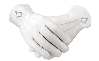 Freemason Masonic Real Kid Leather Silver Gloves in S &C