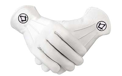 Freemasons masonic Kid Leather Gloves in Black S + C
