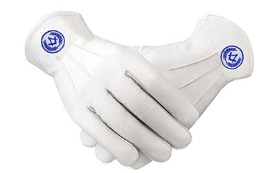 Masonic Regalia White Soft Leather Gloves Square Compass