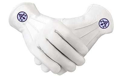 Masonic White Gloves PURPLE Embroidered RSM ROYAL & SELECT