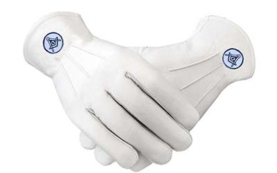 Masonic White Leather Gloves With Square & Compass Patch White Masonic Gloves