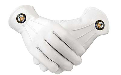 Men's Masonic Regalia Plain White Cotton Gloves