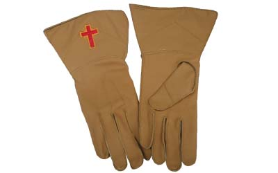Masonic Knights Templar Gauntlets in Real Leather