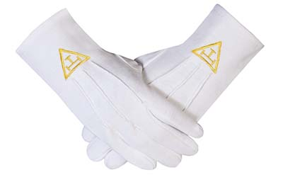 High Quality Masonic Royal Arch Cotton Gloves with beautiful Embroidery Logo yellow