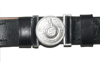 WW1 German SS Officer Black Leather Belt