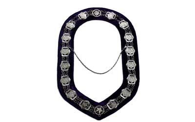 OES - Masonic Compass Square Chain Collar Silver on Blue Velvet