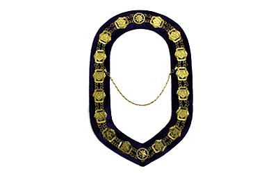 OES - Masonic Compass Square Chain Collar - Gold on Purple Velvet